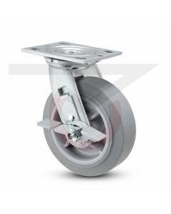 "#01HD Stainless Swivel Caster w/ Brake - 4"" Gray Rubber"
