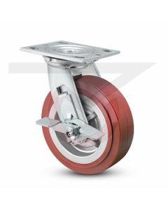 """Economy Swivel Caster - Brake - Polyurethane 8"""" x 2"""""""