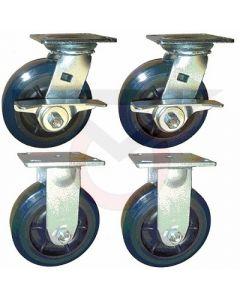 "Tool Box Caster SET - 5"" x 2"" Polyurethane (3600 lb. capacity)"