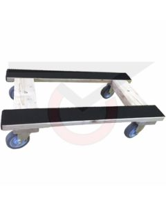 "H-Dolly - 18"" x 30"" Flush with Rubber Pads - 4"" Gray Rubber Wheels"