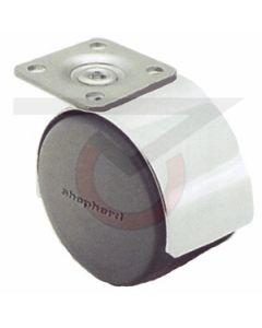 "Twin Wheel Caster - 50mm Chrome - 1-1/2"" x 1-1/2"" Plate (75 lb. Capacity)"