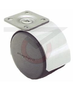 "Twin Wheel Caster - 60mm Chrome - 1-1/2"" x 1-1/2"" Plate (100 lb. Capacity)"