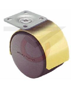 "Twin Wheel Caster - 50mm Brass - 1-1/2"" x 1-1/2"" Plate (75 lb. Capacity)"