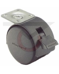 "Twin Wheel Caster - 50mm Black w/ Brake - 1-1/2"" x 1-1/2"" Plate (75 lb. Capacity)"