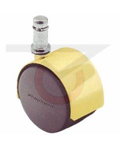 "Twin Wheel Caster - 50mm Brass - 7/16"" x 7/8"" Grip Ring Stem (75 lb. Capacity)"