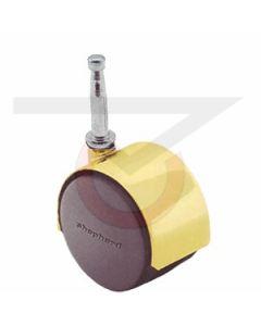 Twin Wheel Caster - 50mm Brass - Grip Neck Stem (75 lb. Capacity)