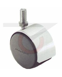 "Twin Wheel Caster - 50mm Chrome - 3/8""-16 x 3/4"" Threaded Stem  (75 lb. Capacity)"