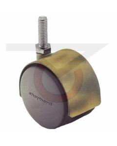 "Twin Wheel Caster - 60mm Antique - 3/8""-16x1-1/2"" Threaded Stem (100 lb. Capacity)"