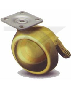 "2-1/2"" Ball Caster w/ Brake - Brass - 1-1/2""x1-1/2"" Top Plate"