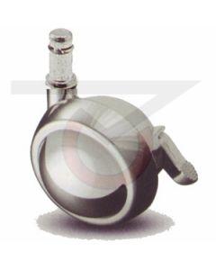 """2-1/2"""" Ball Caster w/ Brake - Chrome - 7/16""""x7/8"""" Grip Ring Stem"""