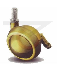 "2-1/2"" Ball Caster w/ Brake - Brass - 3/8""-16 x 3/4"" Threaded Stem"