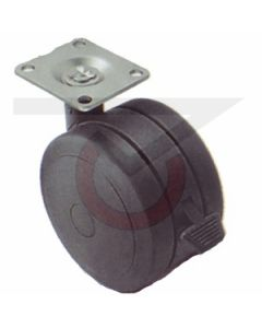 "2"" Softech Black w/ Brake - 1-1/2"" x 1-1/2"" Plate (75 lb. Capacity)"