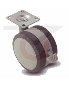 "2"" Softech Gray w/Brake - 1-1/2"" x 1-1/2"" Plate (75 lb. Capacity)"