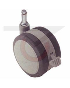 "2"" Softech Gray w/Brake - 7/16"" x 7/8"" Grip Ring Stem (75 lb. Capacity)"