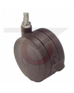 "2"" Softech Black w/ Brake - 5/16""-18 x 1"" Threaded Stem (75 lb. Capacity)"