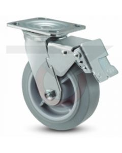 "Economy Swivel Caster - Total Lock - 4"" x 2"" Gray Rubber"